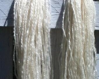 Pearl - handspun handprocessed organic Wensleydale yarn - 3 skeins left