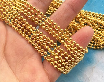 5 yards  2.4mm thickness solid Gold facet ball chains/bead chains/ Jewelry chains--brass material/craft supply chains