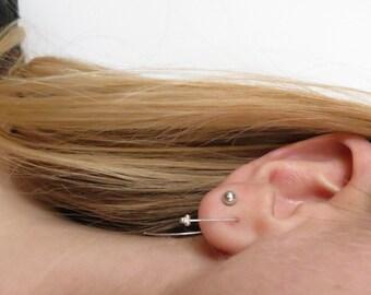 Minimalist Sterling Silver Delicate Dot Drop Earrings. Tiny dot drop Earrings. Minimalist Silver drop earrings. Small drop earrings.