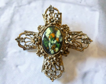 Vintage Enamel and Gold Tone Maltese Cross, Wear as a Brooch or Pendant , Gift for Her, Vintage Jewelry, Earthy Colours