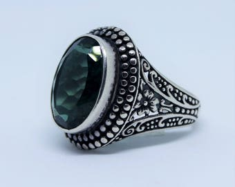 Balinese Sterling Silver Ring with Gem Stone