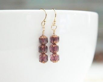 birthday gift small dangle earring / amethyst cathedral glass earrings / ready to ship jewelry / pink rose drop earring #1260