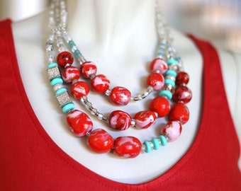 Red and Blue Stone Statement Necklace / Red Stone Necklace / Chunky Red and Mint Beaded Necklace
