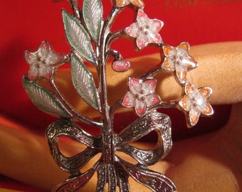 Spring Bouquet Brooch Enamel and Marcasite, Easter, Mother's day