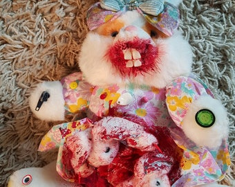 Dead Rabbit.......Goth horror scary teddy/soft toy