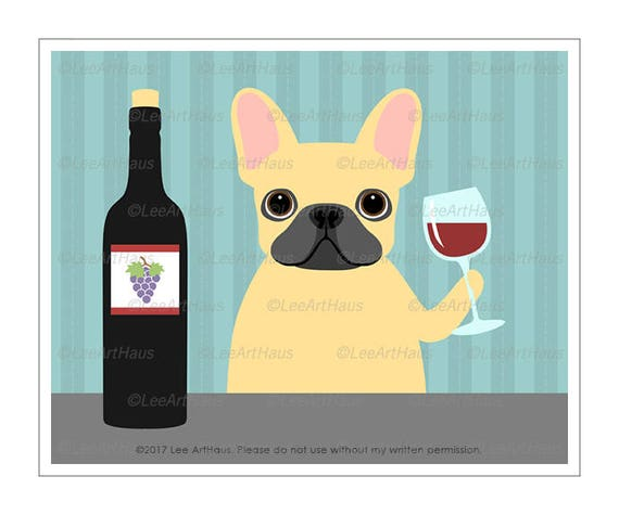 391D Wine Decor French Bulldog Drinking Bottle of Wine Wall