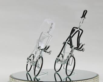Wedding Cake Topper, Triathlon Bike Wedding Cake Topper, Handmade, Bicycle Cake Topper, Mr and Mrs Triathlon Bikes with Black Wheels, BkBkBk