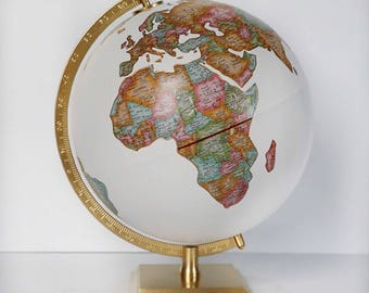 """Travel Themed Globe – Custom Globe – Pins Marking Your Favorite Destinations – Office, Home, Gift, Wedding – Hand Painted – 12"""" Diameter"""