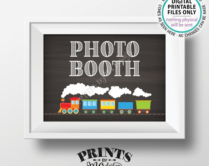 "Train Birthday Photobooth Sign, Photobooth Station, Selfie Staion Sign, Photo Booth Sign, Chalkboard Style PRINTABLE 5x7"" Train Sign <ID>"