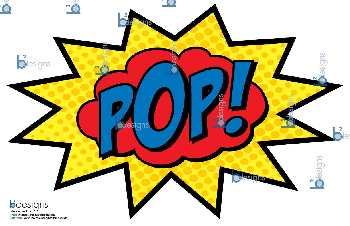 Superhero Party Signs Boom Pow Zap Bam Pop 11 X 17