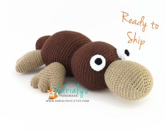 Crochet Platypus- Crochet Animals, Stuffed Platypus, Australian Animals, Handmade Platypus, Crochet Toy- Ready to Ship