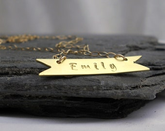 14k GF Name Banner Necklace - Unique Personalized Nameplate, Horizontal Bar, Gift for Her For Child