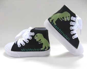 Dinosaur Shoes, T Rex on Black Hi Top Sneakers, Dinosaur Birthday Party Theme, Dino Lover,  Hand Painted for  Baby or Toddler