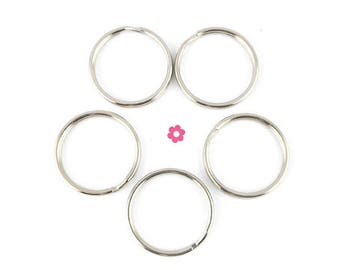 x 20 rings key chains round 25mm (05 (B)
