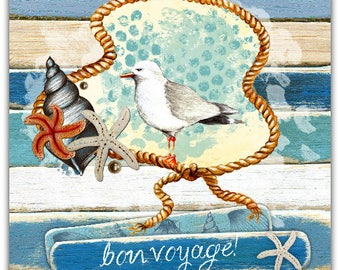 Bon Voyage card with 15cm x 15cm envelope birthday greeting card