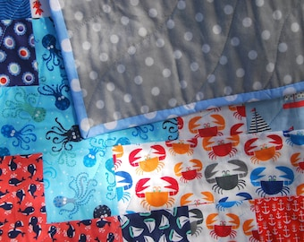 Nautical Baby Quilt - Anchors and Polka Dots, Modern, Handmade, Cute, Toddler, 42x33