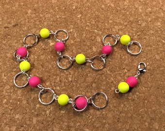 Row Counter - Number Row Counter for knitting or crochet - Counts to 100 - pink and yellow - stitch marker - stitch saver - 11 us