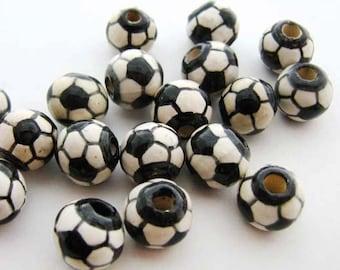 4 Soccer Ball Beads -small (8mm)