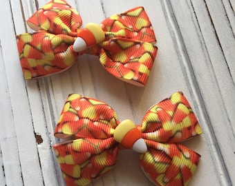 Halloween Candy Corn Yellow Orange and White Hair Bow Clip Set of 2
