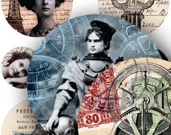 Steampunk Lady Circles in 1 and 1.7-inch circles -- piddix digital collage sheet 685