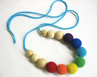 Rainbow necklace, summer jewelry, textile necklace with round beads