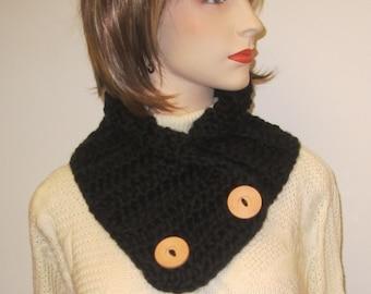 Black Button Wrap Scarf, Neckwarmer, Warm Winter Scarves, Button Wrap Cowl, Winter Scarves, Gift For Women, Black Scarf, Fabiana B2-030