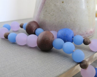 Copper Necklace, Recycled Glass, Glass Necklace, Blue Glass, Lavender Glass, Copper Chain, Copper Jewelry, Glass Jewelry