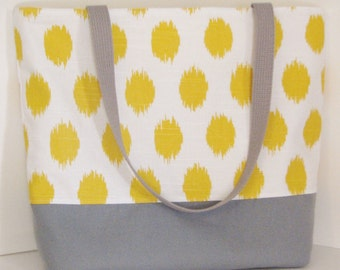 Ikat Dot Tote . Beach Bag . Yellow Ikat Dot Gray . great teacher tote or bridesmaid gifts . MONOGRAMMING Available