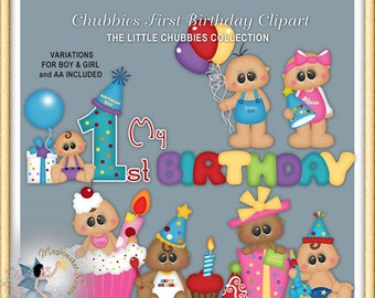 Baby  Birthday Clipart, Chubbies First Birthday Party