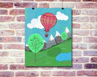 Hot Air Balloon Ride | Digital Illustration | Instant Download Digital File | You Print at Home | Digital Art | Whimsical Illustrations Art