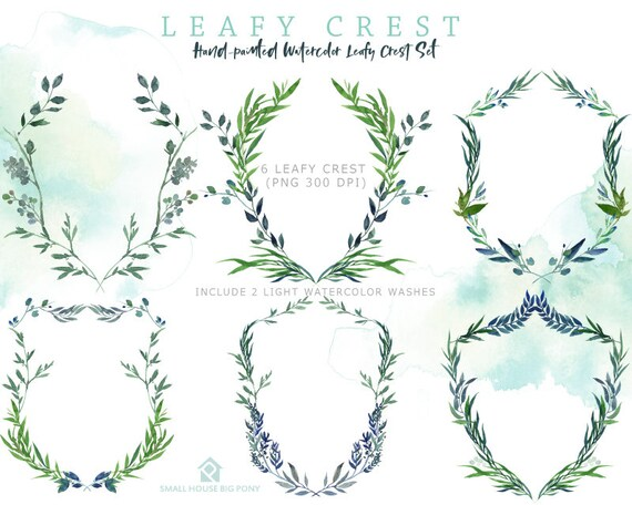 Leafy Crest Clip Art. Green Laurel Crest and Leaves Clipart. Crest Frames and Borders for Wedding and Monograms- Leafy Crest