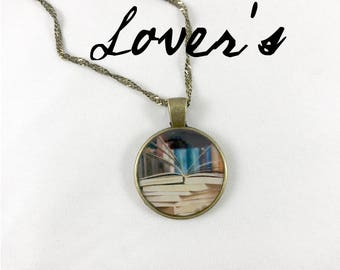 Book Lover's Resin Art necklace FREE SHIPPING