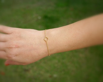 Gold bracelet, Dainty bracelet, gold bracelet, gold square link, delicate bracelet, thin bracelet, small bracelet, anklet - 10009