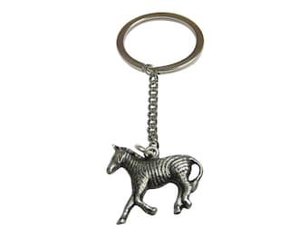 Silver Toned Zebra Pendant Keychain