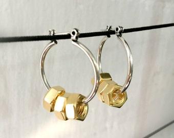 Silver hoop earrings, gold silver earrings, punk earrings, modern earrings, screws earrings, gold hoops, nulika