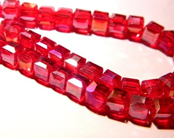 10 beads 6 mm faceted electroplated - cube red PG128 6 iridescent glass