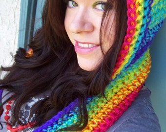 Electric Rainbow Scoofie - Crocheted Hooded Scarf - Super Soft Mulitcolored Acrylic Yarn, Bright Prism Spectrum, LGBTQ Pride