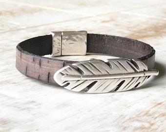 Feather Bracelet, Feather Cuff Bracelet, Brown Leather Bracelet, Stackable Bracelet, Magnetic Clasp