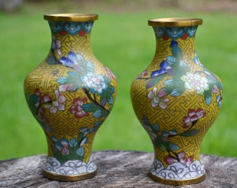 Pair of Antique Yellow Chinese Cloisonné Vases