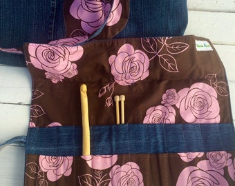 Project Organizing Kit - Large Tote Bag with organizing roll for knitting, crocheting, art projects
