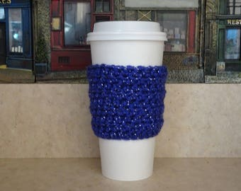 Purple Sparkle Cup Sleeve, Crochet Cup Sleeve, Crochet Cup Cozy, Cup Cozy, Reusable Cup Sleeve, Coffee Lover Gift, Tea Cozy