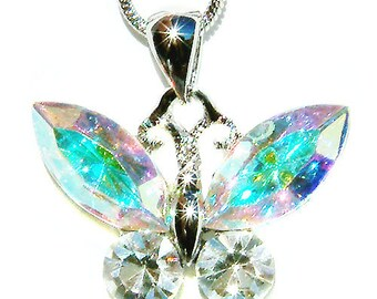 Swarovski Crystal Aurora Borealis BUTTERFLY Bridal Wedding Charm Pendant Chain Necklace Jewelry Best Friend Mother's Day New Christmas Gift
