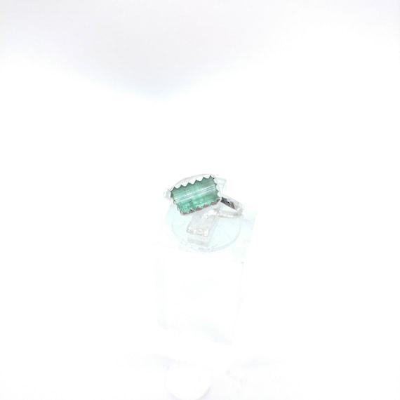 Green Blue Tourmaline Crystal Ring   Sterling Silver Ring Sz 5.5    Raw Blue Tourmaline Ring   Raw Crystal Ring   Uncut Gemstone Ring
