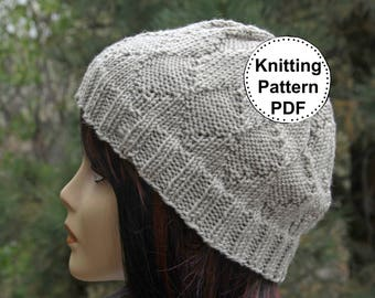 KNIT HAT PATTERN Instant Pdf Download | Beanie | Beanie Hat Pattern | Knitting Pattern | Knitted hat pattern