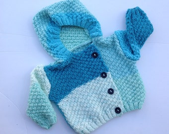 Baby cardigan, knit cardigan, baby hoody, blue sweater, knitted jacket, baby shower gift, baby clothes, baby boy knits, baby wool cardigan