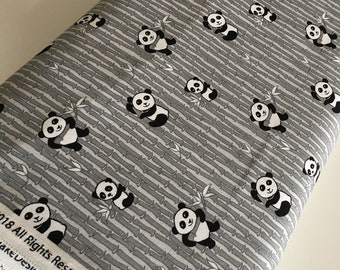 Fabric, Panda, Fabric by the Yard, Baby Quilt, Fabric for Cloth Napkins or Patchwork Quilt, Panda Bamboo Gray, You choose the cut