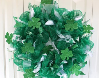 St. Patrick's Day Sparkle Deco Mesh Wreath. Shamrock Glitter St. Patrick's Day Decor.  St. Patrick's Day wreath.  Green Shamrock wreath.