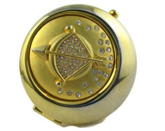 Vintage Estee Lauder Golden Sagittarius Zodiac  Lucidity Powder Rhinestone Compact