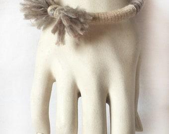 Cotton and Wool Wood Bangle Grey Lavender Pale Boho