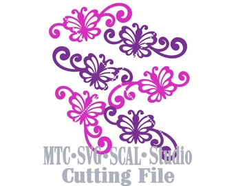 SVG Cut File Butterfly Flourish Set #01 Design #06 Spring MTC SCAL Cricut Silhouette Cutting Files